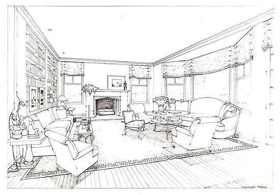 how to draw an old fashioned afghanistan living room